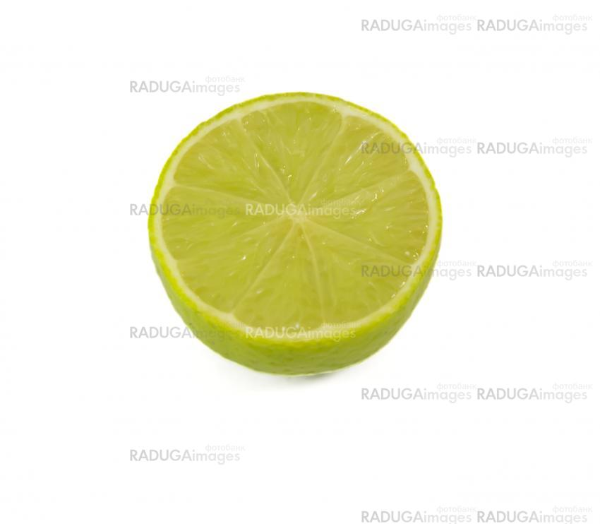 half a lime green isolated on white background