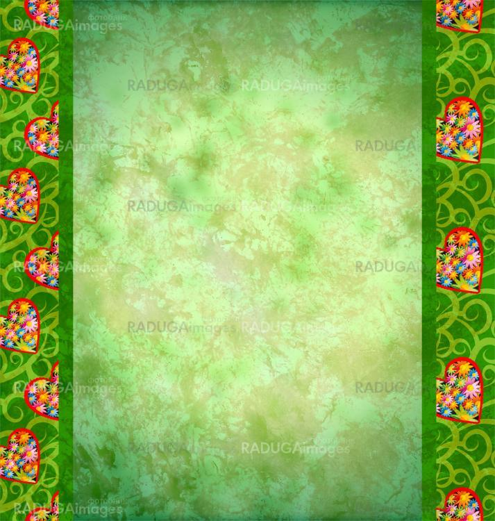 grunge green background with flowers hearts borders