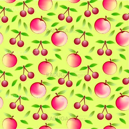 apple and cherry - seamless pattern and abstract nature background