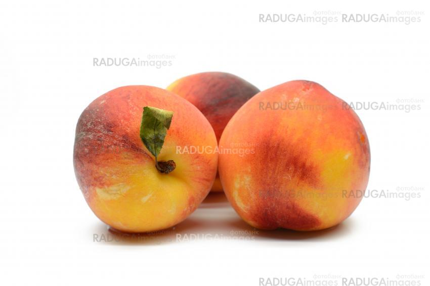 Juicy peaches on a white background