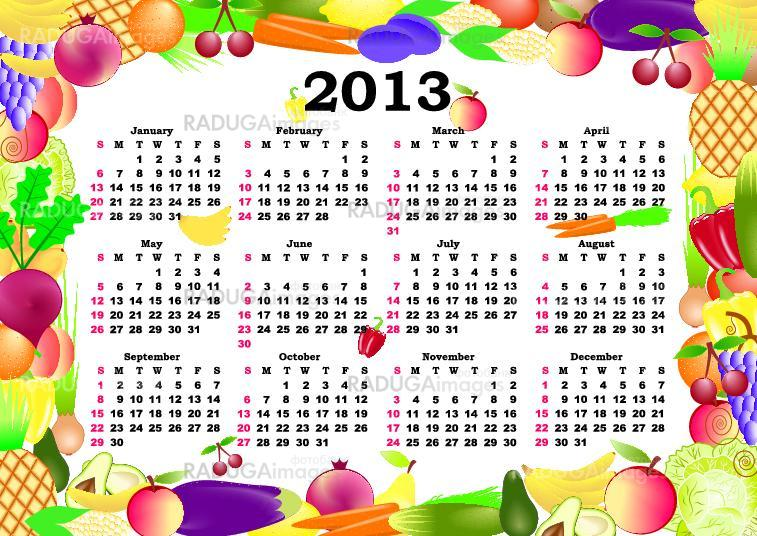 vector calendar 2013 in colorful frame with  fruits, vegetables