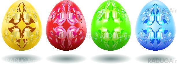 Colored easter egg  decorated by pattern