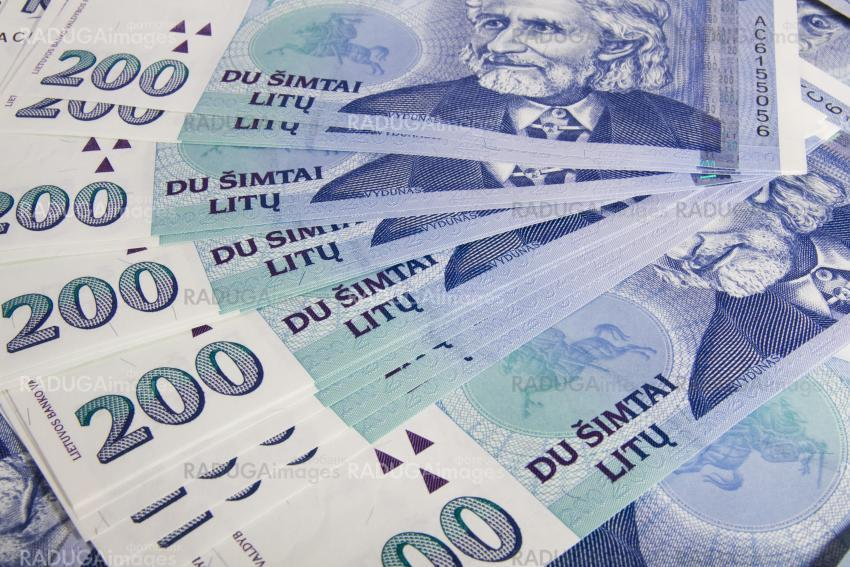 Lithuanian banknote background. Close up image