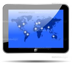 World map on the tablet sxreen. EPS10.