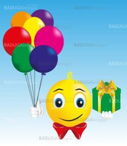 smiley boy with gift and balloons