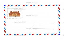 envelope and postage stamp vector illustration
