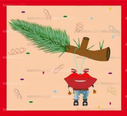 Funny Christmas Card. Vector illustration