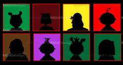 silhouettes of people on a colored background vector