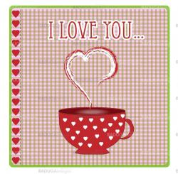 greeting card with hearts and love vector