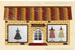 Beautiful  boutique with clothes in the shop window. Vector