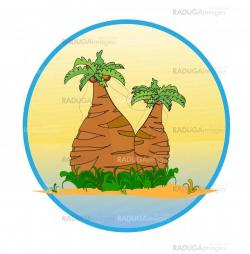 Two palm tree on the tropical island  vector