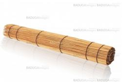 rolled bamboo mat on a white background