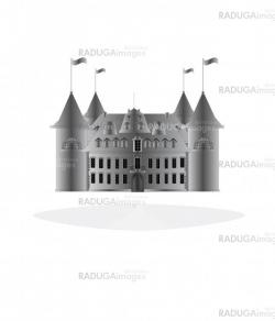Fairy-tale castle on white background