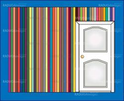 door and colorful wall