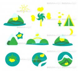 Nature, tourism and mountains icon set. Collection of 9 design elements