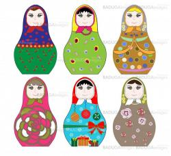 Collection of colorful Russian dolls (Matryoshka) with different patterns and colors