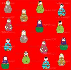 Seamless retro russian doll illustration background pattern