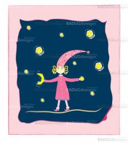 cute girl with moon and stars Postcard