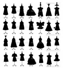 Set of dresses isolated