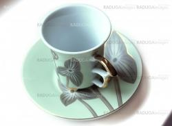 empty cup and saucer  with pattern