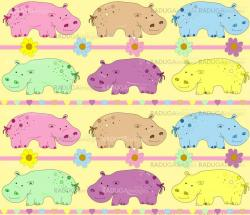 Vector illustration of hippos background