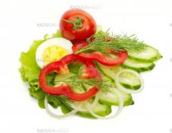 egg, tomato, cucumber and dill salad to