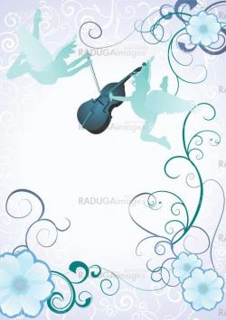 angels silhouettes with violin on blue background with flower fr