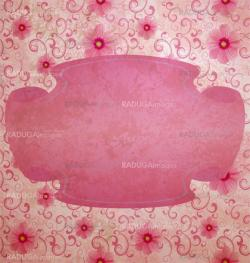 pink grunge flowers testured illustration with scroll bunner