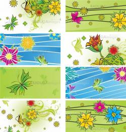 blue and green banners set vector flowers
