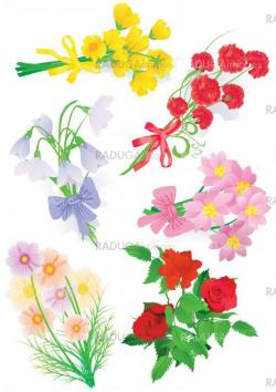 vector bouquet set with roses tulips, snowdrops, cosmos and othe