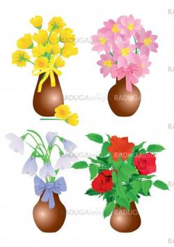 vector flowers in vase set isolated on white