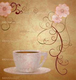 pink flowers and coffee cup on brown grunge paper background