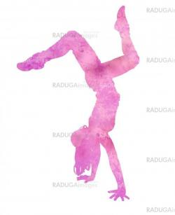 dancing woman silhouette isolated on white backgound watercolor