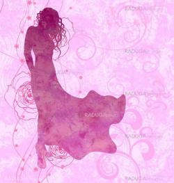 silhouette girl in evening dress on pink roses background