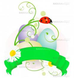 vector Easter eggs and scroll with flowers colorful illustration