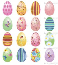 colorful Easter eggs set vector isolated on white