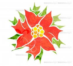 red decorative flower isolated on white watercolor illustration