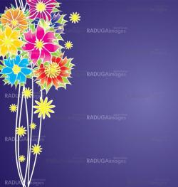 colorful flowers vector on violet background