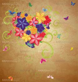 vector colorful flowers heart with curves and butterflies