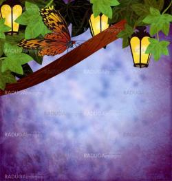 garden lanterns or lamps with yellow lights night picture grunge
