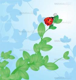 vector red ladybird on the tree branch on  sky background