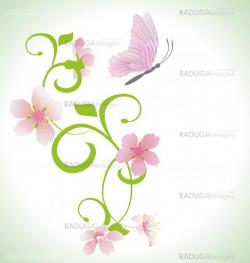 pink butterfly with pink spring  flowers abstract vector