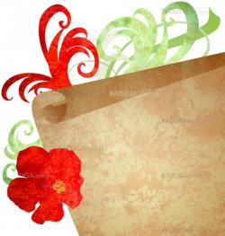 red flower and old paper scroll watercolor illustration