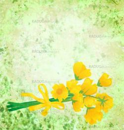 yellow flowers with ribbon on grunge green watercolor background