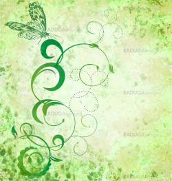 green grunge illustration with plant and butterfly