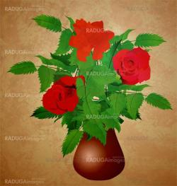 red roses in vase grunge illustration vintage style