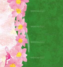 grunge background with pink flowers and green texture with pink