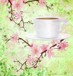 pink sakura flowers on branches with coffee  cup grunge backgrou