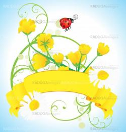 ladybird grass and daisies vector meadow illustration