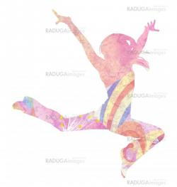pink dancing girl silhouette grunge colorful illustration